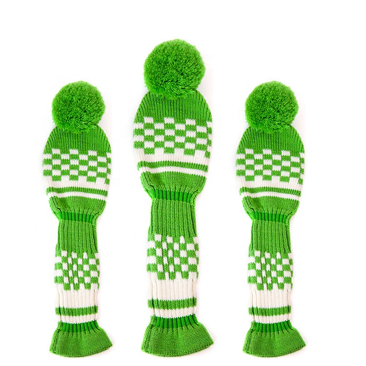 Custom Pom Pom Pompom Gebreide Golf Club Headcover Hoofd Covers