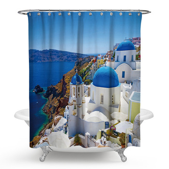 Cheap 3D Printing Scenery Pattern Bathroom Decoration Washable Shower Curtain