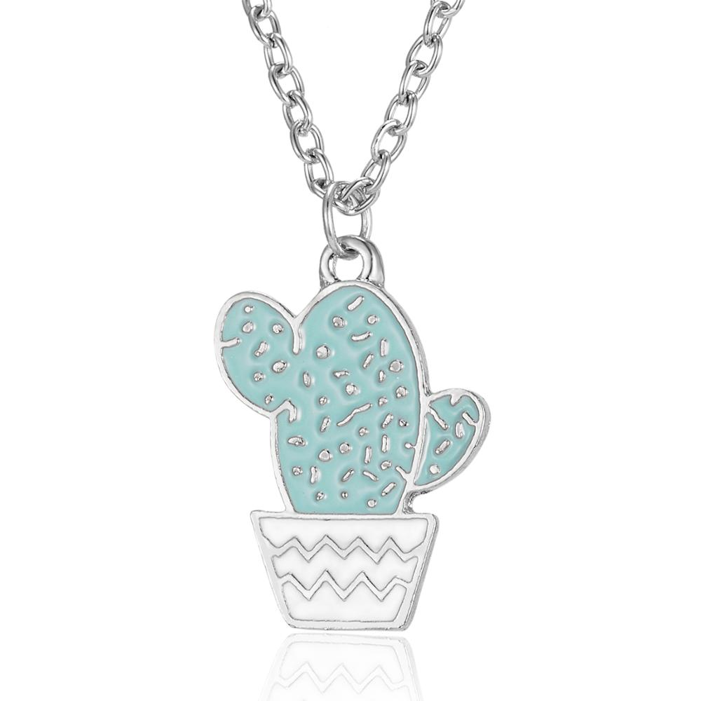 Funny Enamel Cactus <strong>Cute</strong> Succulent Pendant Sweater Jewelry <strong>Necklace</strong> For Women