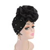New Design Purl Large Flower Pearl Polyester Pleated Wrinkle Turban For Women