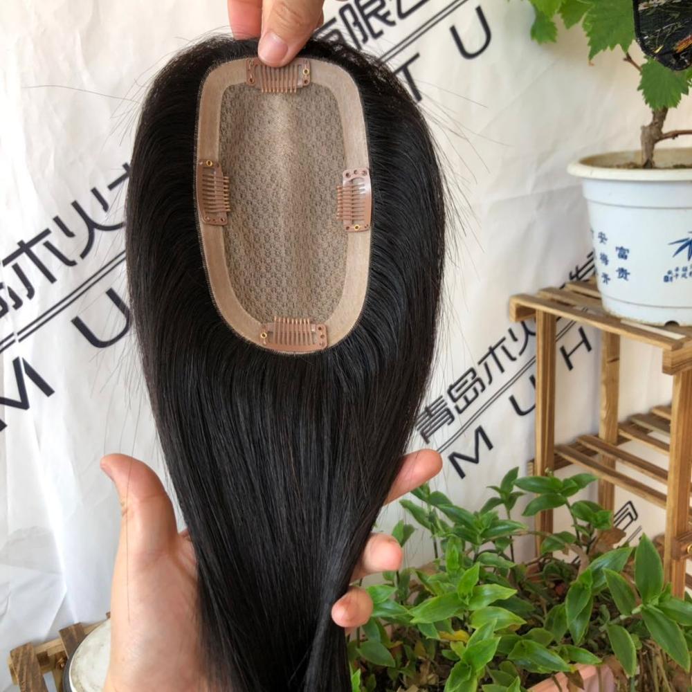 Brazilian human remy virgin hair topper for women silk base women hair piece with clip ins фото