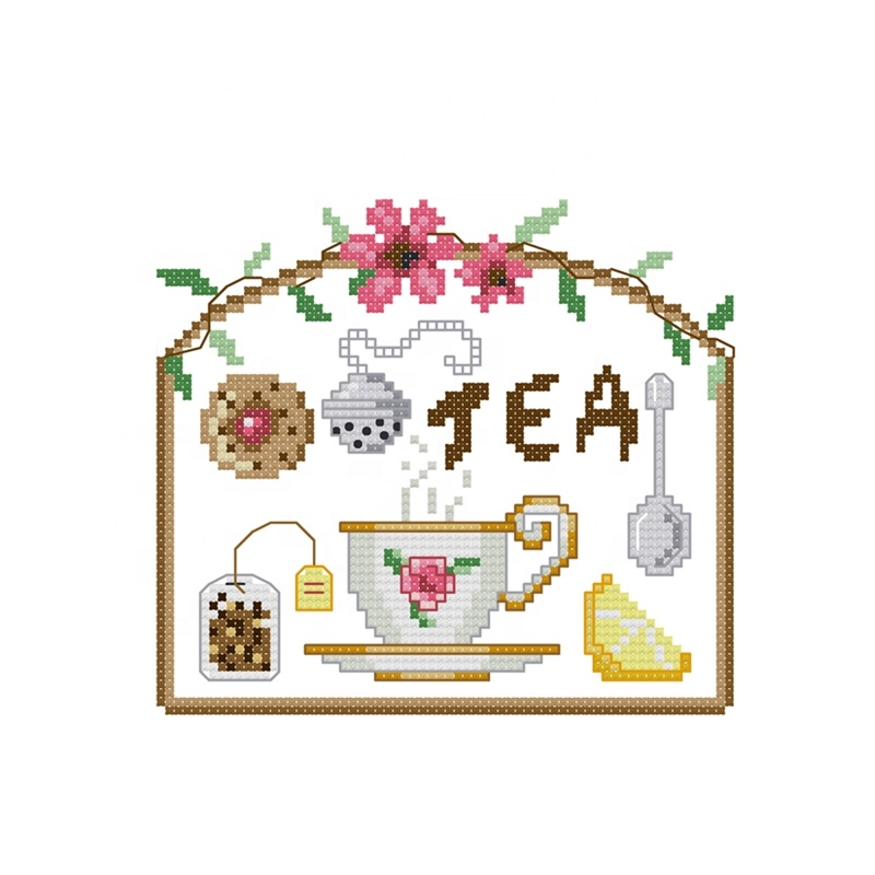 Chart Counted Cross Stitch Patterns Needlework DIY DMC Color Tea Time 4