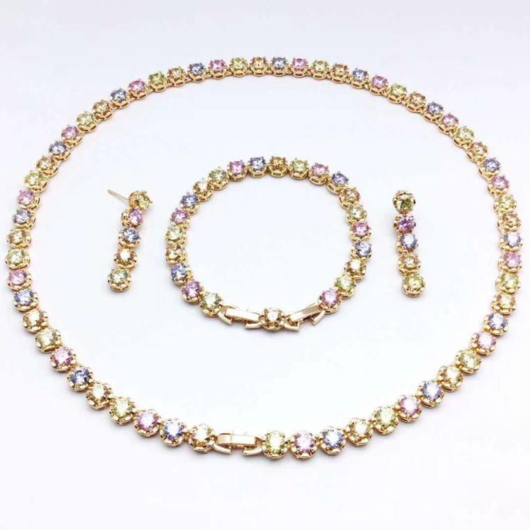 Set 99 yiwu store xuping 18k gold plated Rainbow color jewelry set bridal jewelry set фото