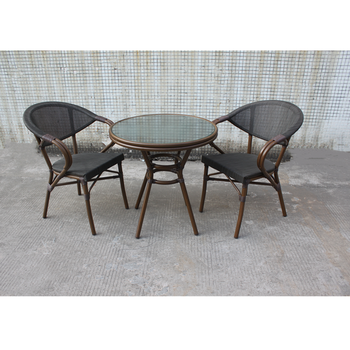 Garden Furniture Textile chair and glass table set patio leisure table chairs