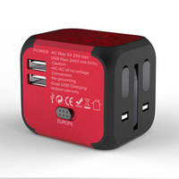 Original Patent EU US UK AU Swiss world universal promotional travel adaptors with 2 usb wholesale gift items 2019