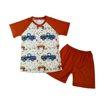 Wholesale fashion boy boutique suit cotton car pattern short-sleeved shirt shorts 2 sets