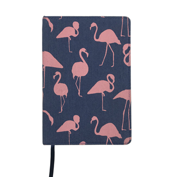 Linen book cloth fabric hardcover journal notebook pink flamingo