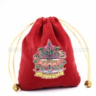 Custom heat transfer logo small drawstring pouch velvet cloth jewelry gift bag manufacturer
