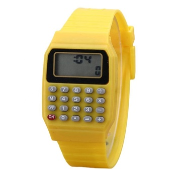 Hot children Calculator Watch live LED Clock Kids Silicone Multi-Purpose Date Time Electronic Digital Wrist Watch SW038