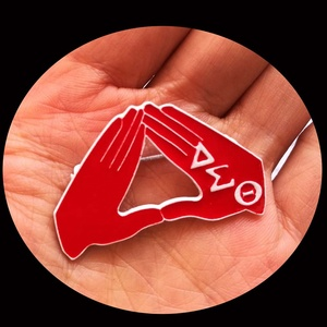 Greek Fraternity   AEO DST Pearl Brooch Lapel Pin Jewelry Accessories Delta Sigma Theta  Sorority Hand Signals Brooch