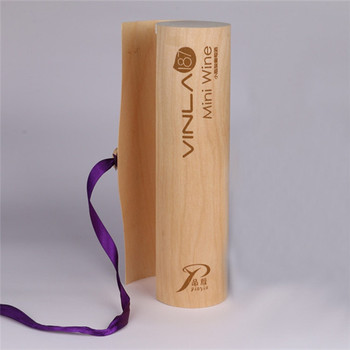 High Quality Customized 1 bottled Round Wooden Box for Red Wine