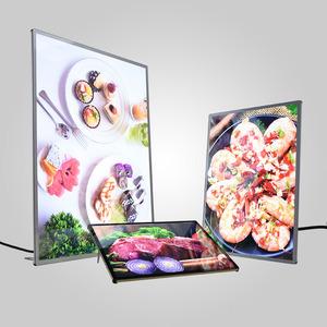 Led photo frame light box glass advertising led restaurant menu board