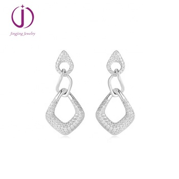 Charm silver Earrings Jewelry for Women Zircon Rhombus Geometric