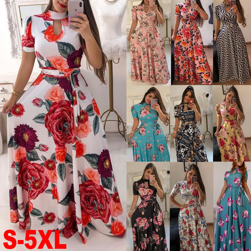 Women's Floral Printed Maxi <strong>Dress</strong> Short Sleeve Casual Swing Long Maxi <strong>Dress</strong> with Belt S-XXXXXL