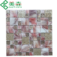 Best seller home decorative beige glass tile mosaic interlocking Mixed WG130