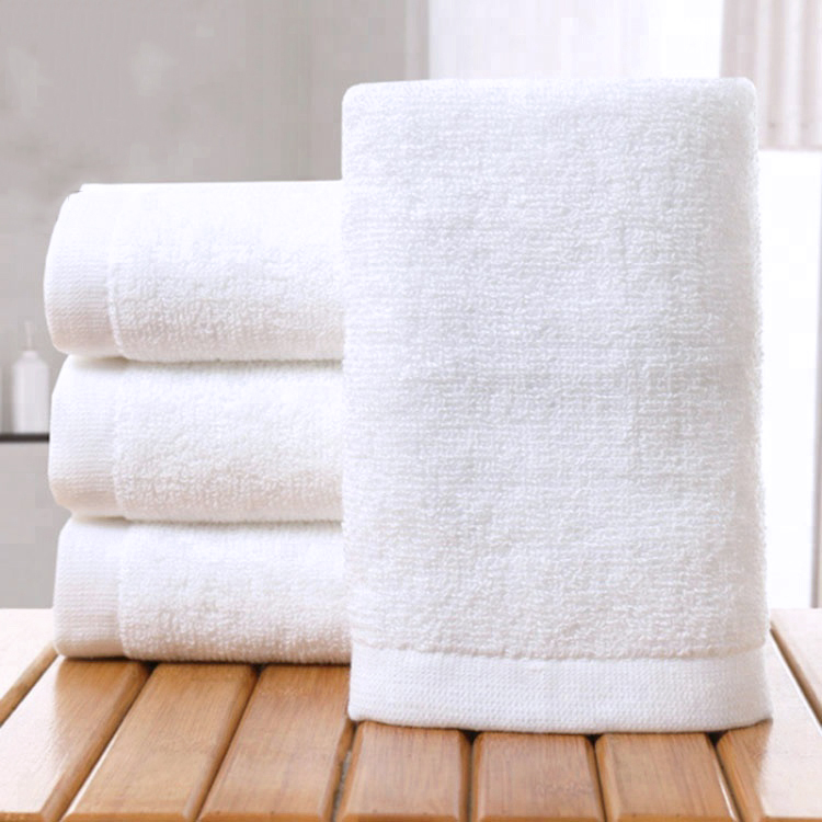 Factory Supply in Stock White 100% Cotton 32x32cm Hotel Face Towel