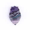 hand carved natural rainbow fluorite owls carving quartz animal for small pendant