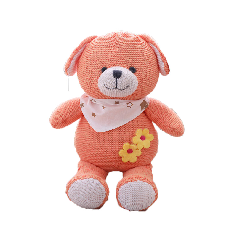 wholesale high quality classic 25cm organic knitted plush blue teddy bear pink <strong>rabbit</strong> and orange puppy dolls for children