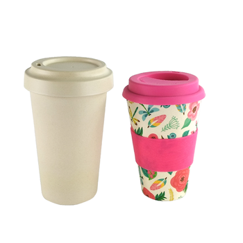 Wholesale custom printed Bio Eco bamboo fiber cup with bamboo fiber lid cup 450 ml