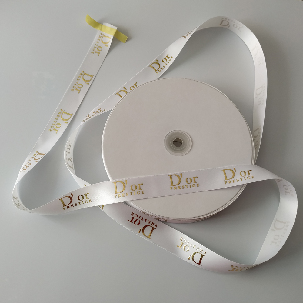 Custom gold foil printed 3d logo gift polyester satin ribbon