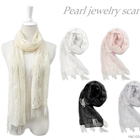 19ss new fashion design laser cut pearl jewelry lace scarf hijab for women