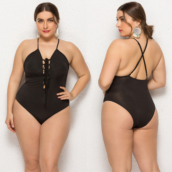 One piece fat women wearing plus size swimwear bikini