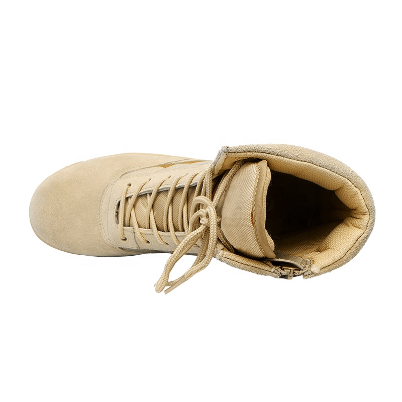 XINXING Split Suede Leather Rubber Outsole Military Desert Boots Army Tacical Boots for Army Outdoor Activity with Zipper MB06