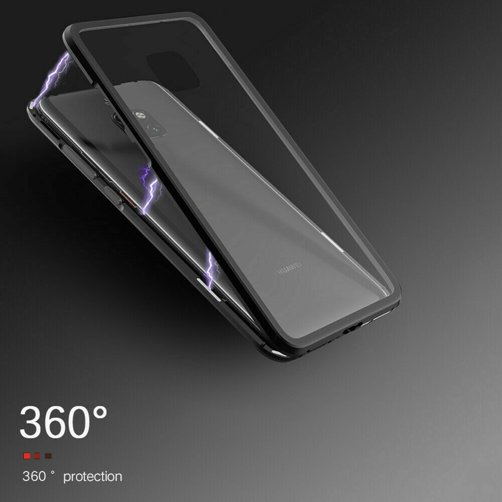 2019 Metal Magnetic Adsorption Case Double Sided Tempered Glass Back Magnet Flip Cases Cover for Huawei P30 Pro mate 20 P20 фото
