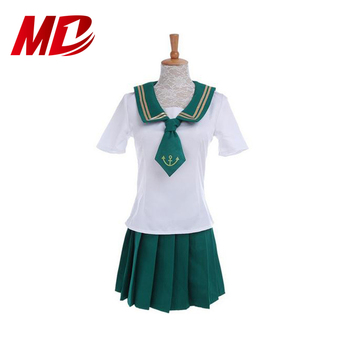 Pure cotton one-piece dress anime Sailor Moon Jupiter with Sailor collar cosplay for girls school uniforms