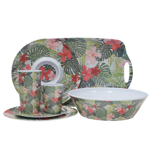 Professional wholesale custom plastic household Party picnic Green Leaf red flower melamine set tableware