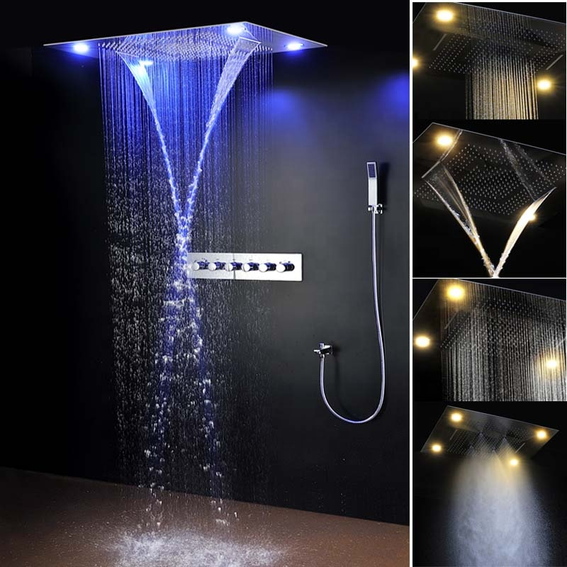 Rainfall Shower Tap Thermostatic Mixer Shower Luxury Led Panel Shower 304 Stainless Steel Overhead Spa Shower Equipment Bathroom Fixtures