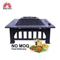 2019 Hot Selling Multi-function Black Square Large Outdoor Garden Patio Iron Steel Metal Wood Burning Fire Pit