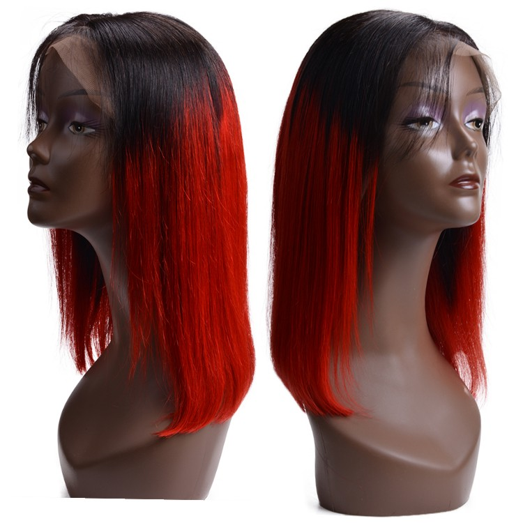 In Stock Raw Indian Hair Ombre 1B/Red Short Bob Wig Human Hair Lace Front Wigs For Black Women фото