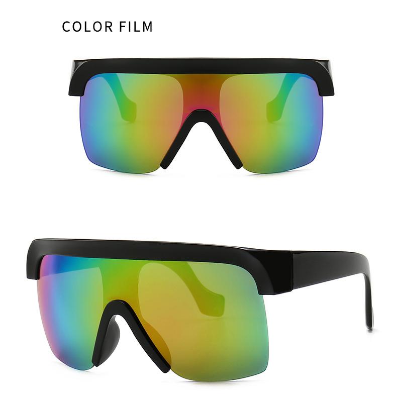 Wholesale unisex big square half rimless sun glasses band design custom logo shades flag oversize sunglasses women men