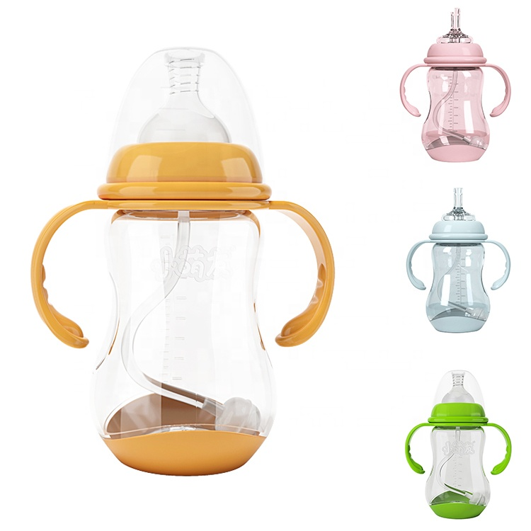 Baosheng food grade non-toxic drop resistance soft pp baby bottle bpa free wide neck finfant baby feeding bottles with handles