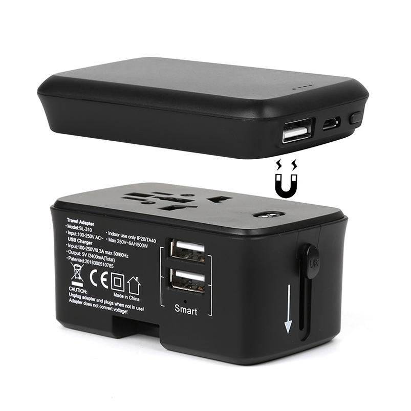 2019 consumer electronics mobile phone <strong>accessories</strong> 2 usb ports universal travel adapter with power bank charging