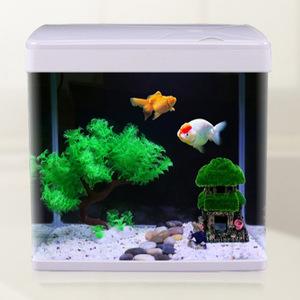 Minjiang Aquarium New  Glass Fish Tank Led Lamp Table Tank