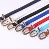 Many Colors Wholesale Ladies' Thin Dress PU Leather Fashion Women Belt 1.5cm Wide