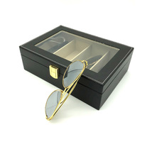 PU leather Travel Eyeglass Sunglass Glasses Organizer case sunglasses Storage Case Box (Black - 4 Slots)