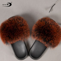Women Fur Slides Home Furry Flat Female Cute Fluffy House Shoes Woman Brand Luxury 2020 Real Fox Fur Slippers Sandals
