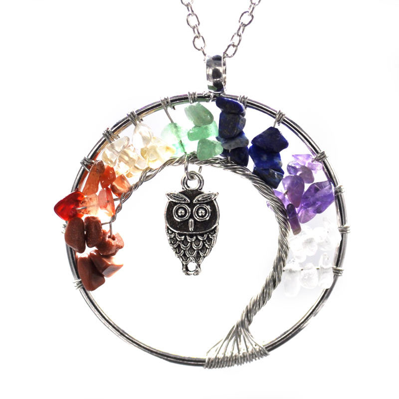 New fashion Crystal Gravel 7 Chakra Tree Of Life Inlay Owl Jewelry Women Pendant Chakra Necklace