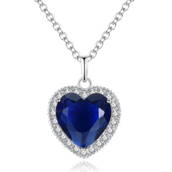 Fancy heart of the ocean necklace big blue cz heart necklace