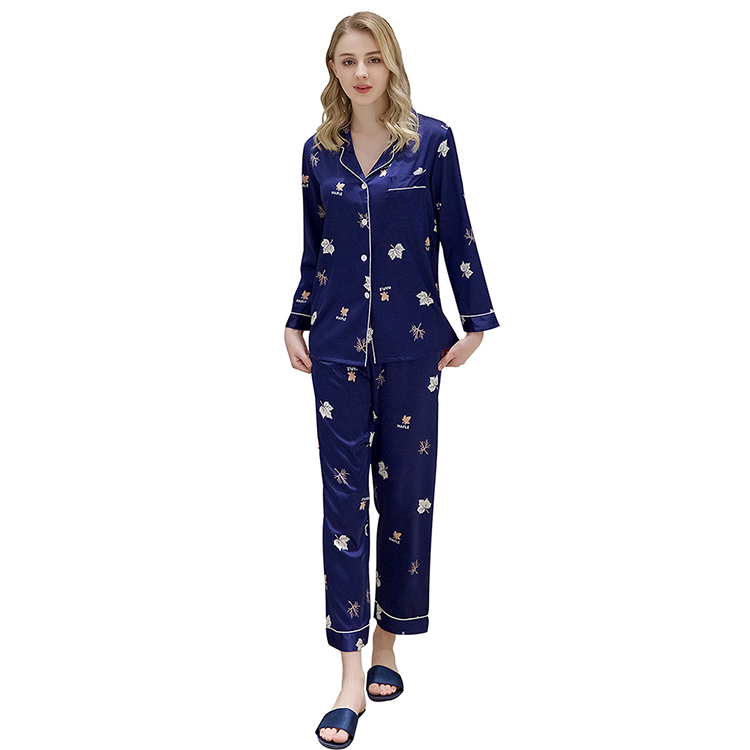 2019 Hot Sale Comfortable Sleep Wear Long Sleeve Print Breathable Pajamas Home Clothes Pajamas Women Set фото