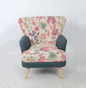 High Back Accent Chair,Fabric Patchwork Sofa Chair,Leisure Armchair with Wooden Legs for Living Room