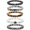 Hot Selling Wholesale Custom 8mm Magnet Charm Beads Stretch Natural Stone Lava Bead Bracelet For Couple