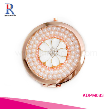 Luxury fashion design round shape double side jeweled custom compact mirror