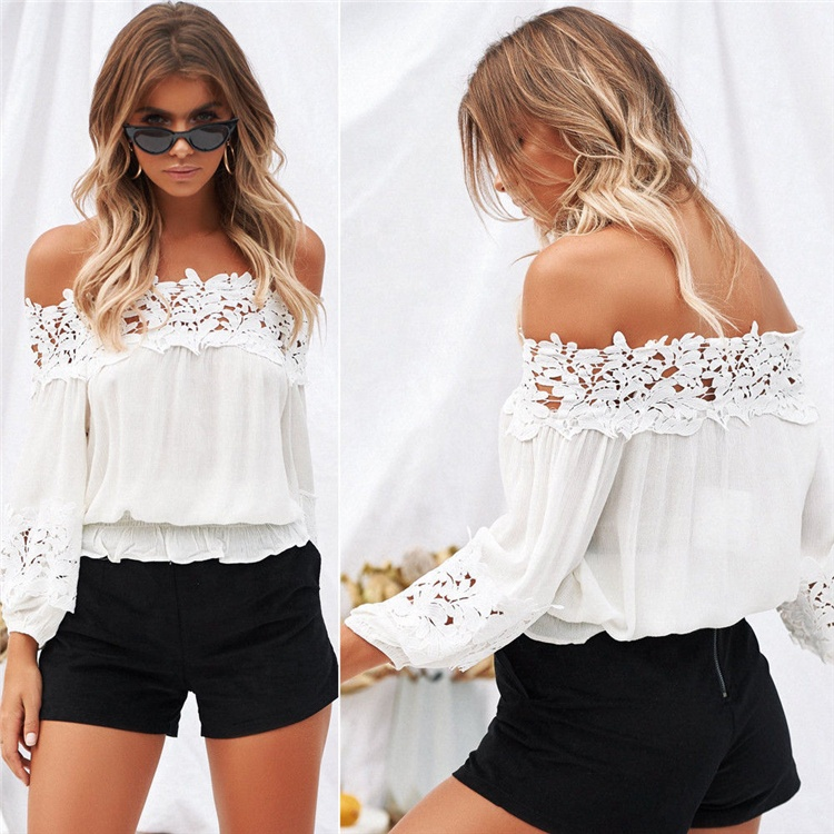 New Summer Tops Hollow Out Long Sleeve Off Shoulder Top Woman <strong>Lace</strong> <strong>Blouse</strong>