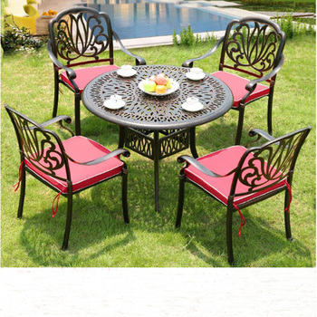 All Weather Cast Aluminum Outdoor Dining Table Set Garden