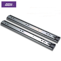 Soft close ball bearing triple extension drawer slide telescopic kitchen cabinet sliding rail