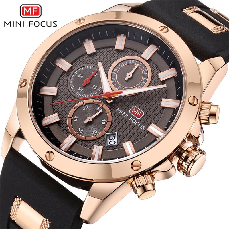 MINI FOCUS Wristwatches Men 3ATM waterproof 3D Bolt Design 6 Hands 24H Calendar Date Rubber Strap Steampunk reloj MF0089G watch фото